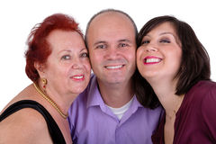 Happy Man with his Mother and Sister Together Trio Portrait. Happy men with his mother and sister together close portrait Perhaps it's his birthday royalty free stock photography