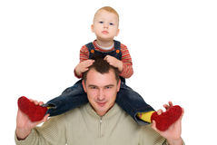 Happy man hold his son neck Stock Images