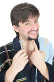 Happy man hold razor Stock Image