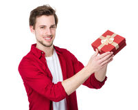 Happy man hold with small gift Royalty Free Stock Photo
