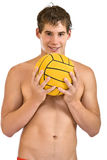 Happy man holding a ball. Aquatic player with a ball isolated on white Stock Photography