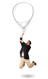 Happy man holding balloon drawing Royalty Free Stock Image