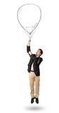 Happy man holding balloon drawing Stock Photos