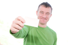 Happy Man Holding Blank Card Stock Images