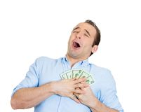Happy man holding cash Stock Image