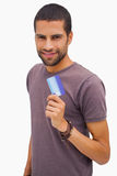 Happy man holding credit card Royalty Free Stock Photo