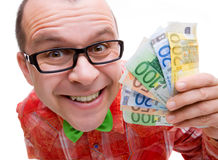 Happy man holding euro money Royalty Free Stock Image