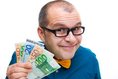 Happy man holding european money Stock Photography
