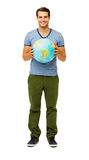 Happy Man Holding Globe Royalty Free Stock Photos