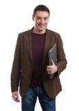 Happy man holding laptop Stock Photography