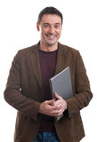 Happy man holding laptop Stock Images