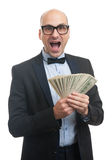 Happy man holding a lot of money Stock Image