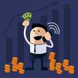 Happy man holding money and phone Royalty Free Stock Photography