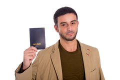 Happy man holding passport isolated on white background Royalty Free Stock Photo