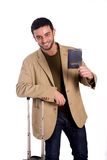 Happy man holding passport isolated on white background Stock Photo