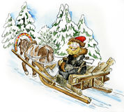 Happy man in a horse sleigh. Carrying firewood Stock Photos