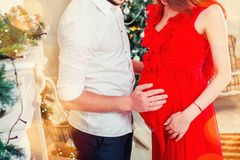 Happy man hugging his pregnant woman in the living room Royalty Free Stock Photography