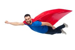 Free Happy Man In Red Superhero Cape Flying On Air Royalty Free Stock Photos - 84637148