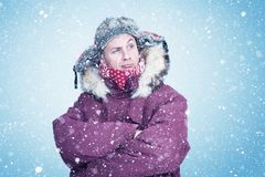 Free Happy Man In Red Winter Clothes Warms His Hands, Cold, Snow, Frost, Blizzard Stock Image - 160200461