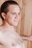 Happy man inside the sauna Royalty Free Stock Photos