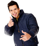 Happy man with a jacket Stock Photo