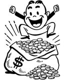 Happy Man With Jackpot. Retro Clip Art Illustration - Little fellow jumping for joy atop a bag of money Royalty Free Stock Photo