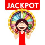 Happy Man with Jackpot Wheel of Fortune. Isolated on White Background. Vector royalty free illustration