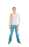 Happy man in jeans Stock Photos