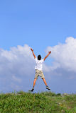 Happy Man Jump Freely Stock Images