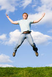 Happy man is jumping Stock Photo