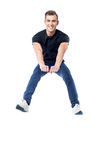 Happy man jumping in air Royalty Free Stock Photo