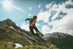 Happy Man jumping in mountains landscape Lifestyle Travel royalty free stock images