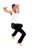 Happy man jumping of success Royalty Free Stock Image