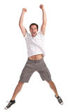 Happy man jumping on a white background Royalty Free Stock Images