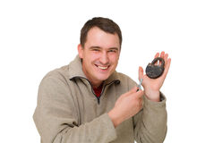 Happy man with the key and lock Stock Photography