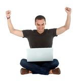 Happy man with a laptop Royalty Free Stock Photo