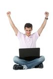 Happy man with laptop Royalty Free Stock Photo