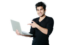 Happy man with laptop Stock Photos