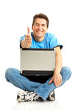 Happy man with laptop Royalty Free Stock Images