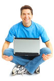 Happy man with laptop Royalty Free Stock Photography