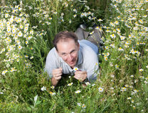 Happy man lies in the field of chamomiles Royalty Free Stock Photography