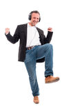 Happy man listening music and dancing Royalty Free Stock Photography
