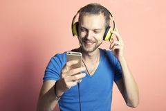 Happy man listening to music royalty free stock photos