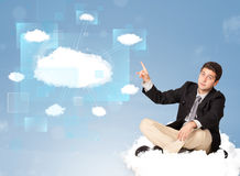 Happy man looking at modern cloud network Royalty Free Stock Photography