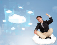 Happy man looking at modern cloud network Stock Photos