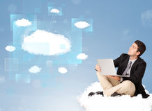 Happy man looking at modern cloud network Stock Photo