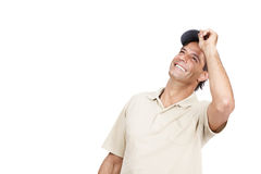 Happy man looking upward at copyspace Royalty Free Stock Image