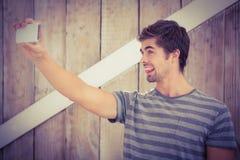 Happy man making face while taking selfie Royalty Free Stock Photos