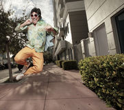 Happy man in midair Stock Image