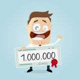 Happy man with a million check. Clipart of a happy man with a million check royalty free illustration